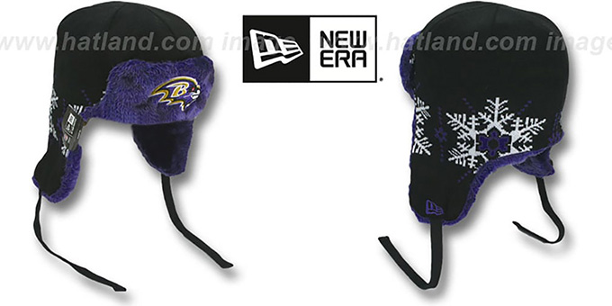 Ravens 'SNOWFLAKE TRAPPER' Black-Purple Knit Hat by New Era : pictured without stickers that these products are shipped with