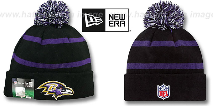 Ravens 'STADIUM' Knit Beanie Hat by New Era : pictured without stickers that these products are shipped with