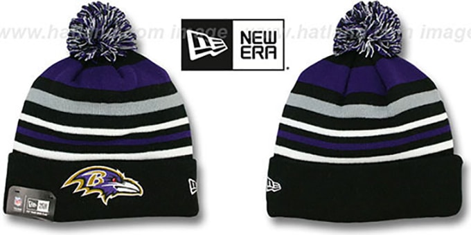 Ravens 'STRIPEOUT' Knit Beanie Hat by New Era : pictured without stickers that these products are shipped with