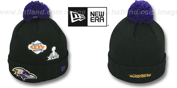 Ravens 'SUPER BOWL PATCHES' Black Knit Beanie Hat by New Era : pictured without stickers that these products are shipped with