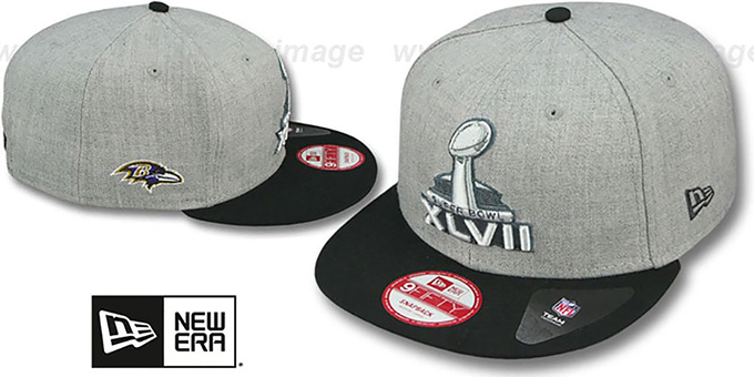 Ravens 'SUPER BOWL XLVII  SNAPBACK' Grey-Black Hat by New Era : pictured without stickers that these products are shipped with