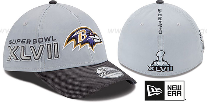 Ravens 'SUPER BOWL XLVII CHAMPS' Flex Hat by New Era : pictured without stickers that these products are shipped with