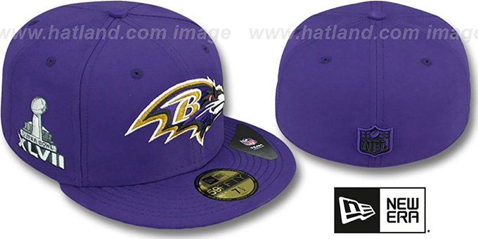 Ravens 'SUPER BOWL XLVII' Purple Fitted Hat by New Era : pictured without stickers that these products are shipped with