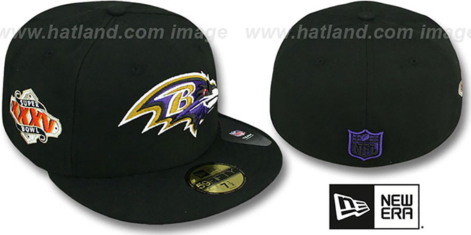 Ravens 'SUPER BOWL XXXV' Black Fitted Hat by New Era : pictured without stickers that these products are shipped with