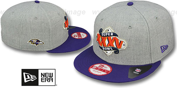 Ravens 'SUPER BOWL XXXV SNAPBACK' Grey-Purple Hat by New Era : pictured without stickers that these products are shipped with