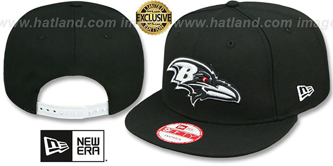 Ravens 'TEAM-BASIC SNAPBACK' Black-White Hat by New Era : pictured without stickers that these products are shipped with