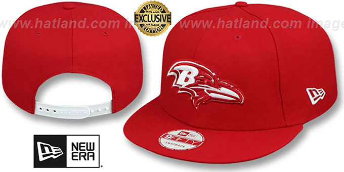 Ravens 'TEAM-BASIC SNAPBACK' Red-White Hat by New Era : pictured without stickers that these products are shipped with