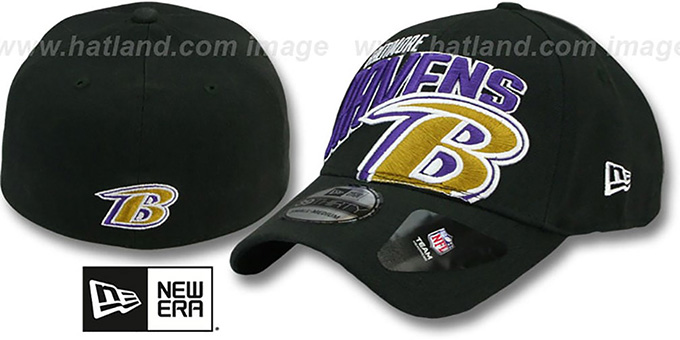 Ravens 'TEAM SLOPE FLEX' Black Hat by New Era : pictured without stickers that these products are shipped with