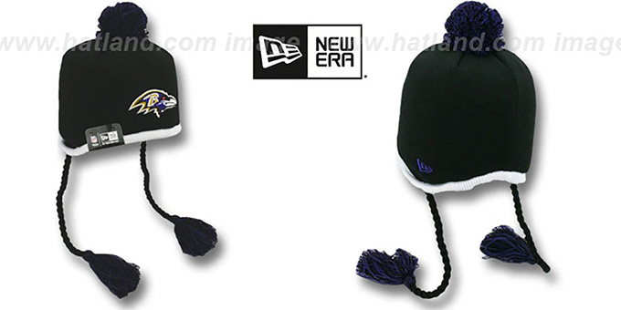 Ravens 'TEAM-TONE TASSLE' Black Knit Beanie Hat by New Era : pictured without stickers that these products are shipped with