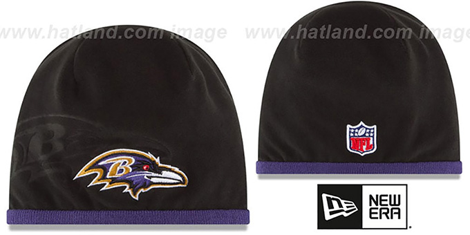 Ravens 'TECH-KNIT STADIUM' Black-Purple Knit Beanie Hat by New Era : pictured without stickers that these products are shipped with