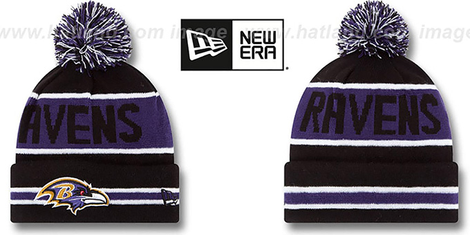 Ravens 'THE-COACH' Black Knit Beanie Hat by New Era : pictured without stickers that these products are shipped with