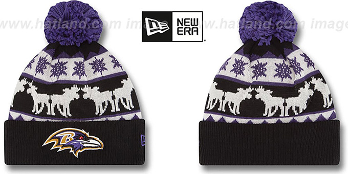 Ravens 'THE-MOOSER' Knit Beanie Hat by New Era : pictured without stickers that these products are shipped with