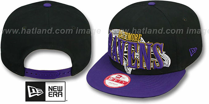 Ravens 'THROUGH SNAPBACK' Black-Purple Hat by New Era : pictured without stickers that these products are shipped with
