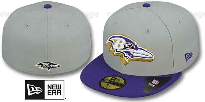 Ravens 'TRACE-POP' Grey-Purple Fitted Hat by New Era : pictured without stickers that these products are shipped with