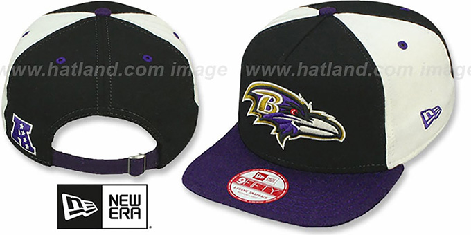 Ravens 'TRIPLE MELTON STRAPBACK' Black-White-Purple Hat by New Era : pictured without stickers that these products are shipped with