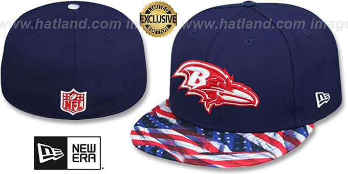 Ravens 'USA WAVING-FLAG' Navy Fitted Hat by New Era : pictured without stickers that these products are shipped with