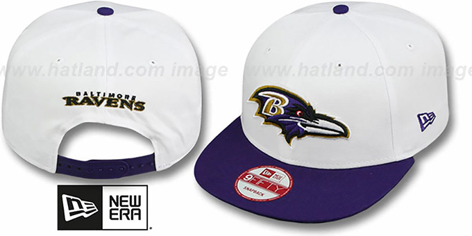 Ravens 'WHITETOP SNAPBACK' White-Purple Hat by New Era : pictured without stickers that these products are shipped with