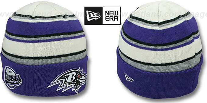 Ravens 'WINTER TRADITION' Knit Beanie Hat by New Era : pictured without stickers that these products are shipped with