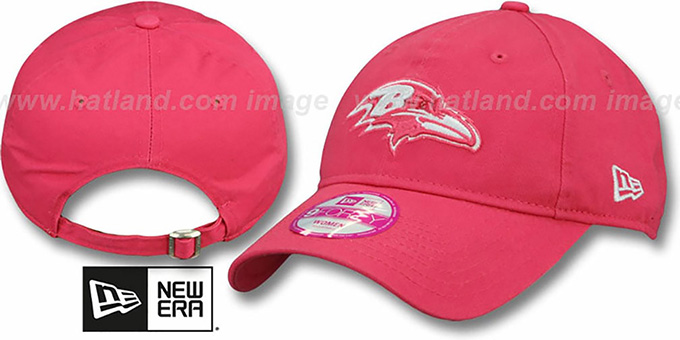 Ravens 'WOMENS ESSENTIAL' Pink Strapback Hat by New Era : pictured without stickers that these products are shipped with