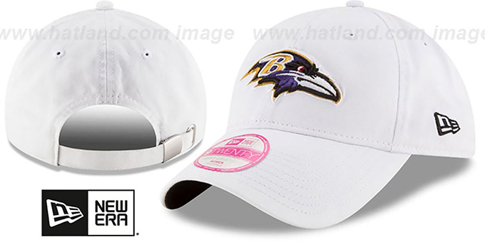 Ravens 'WOMENS PREFERRED PICK STRAPBACK' White Hat by New Era : pictured without stickers that these products are shipped with