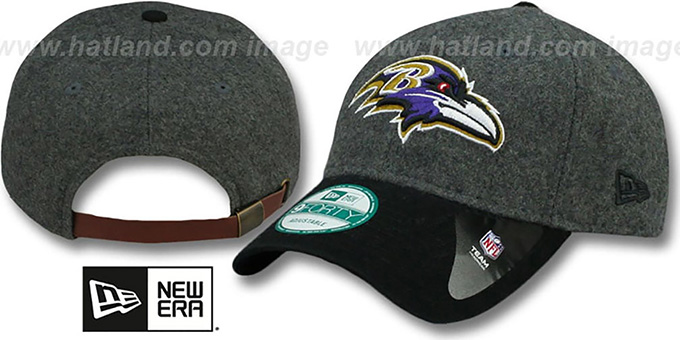 Ravens 'WOOLEN CROWN' Grey-Black Hat by New Era : pictured without stickers that these products are shipped with