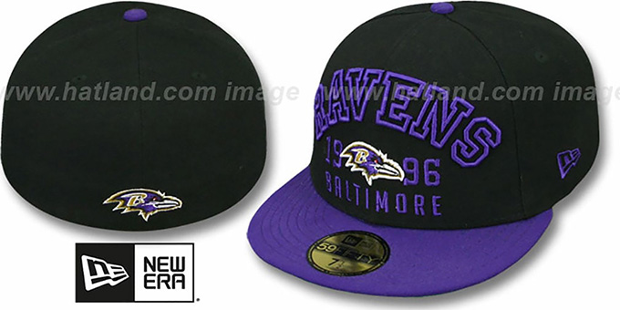 Ravens 'WORD-KNOCK' Black-Purple Fitted Hat by New Era : pictured without stickers that these products are shipped with