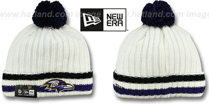 Ravens 'YESTER-YEAR' Knit Beanie Hat by New Era : pictured without stickers that these products are shipped with
