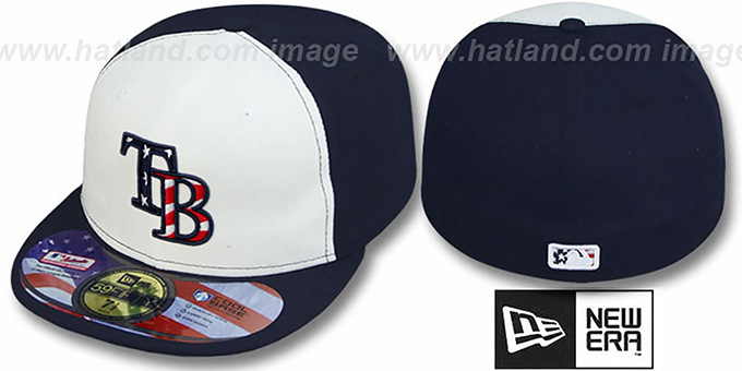 Rays '2011 STARS N STRIPES' White-Navy Hat by New Era : pictured without stickers that these products are shipped with