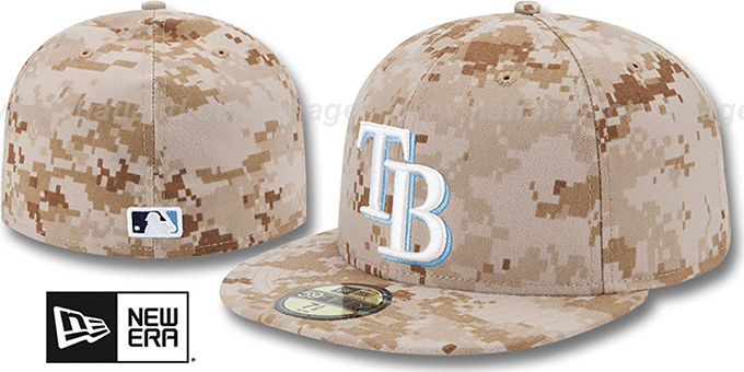 Rays 2013 'STARS N STRIPES' Desert Camo Hat by New Era : pictured without stickers that these products are shipped with