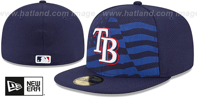 Rays '2015 JULY 4TH STARS N STRIPES' Hat by New Era : pictured without stickers that these products are shipped with