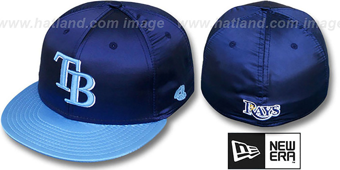 Rays '2T SATIN CLASSIC' Navy-Sky Fitted Hat by New Era : pictured without stickers that these products are shipped with