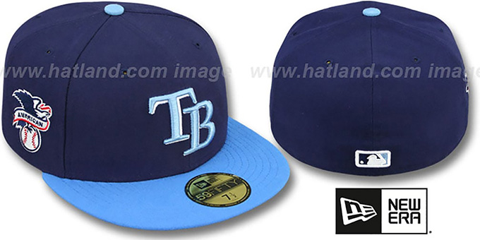 Rays 'BAYCIK' Navy-Sky Fitted Hat by New Era : pictured without stickers that these products are shipped with