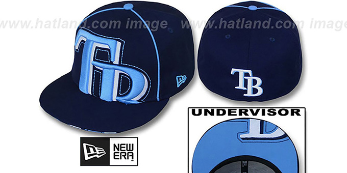 Rays 'BIG-UNDER' Navy Fitted Hat by New Era : pictured without stickers that these products are shipped with