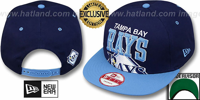 Rays  'SUPER-LOGO ARCH SNAPBACK' Navy-Sky Hat by New Era : pictured without stickers that these products are shipped with