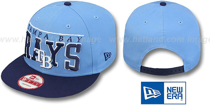 Rays 'LE-ARCH SNAPBACK' Sky-Navy Hat by New Era : pictured without stickers that these products are shipped with
