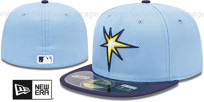 Rays 'MLB DIAMOND ERA' 59FIFTY Sky-Navy BP Hat by New Era : pictured without stickers that these products are shipped with