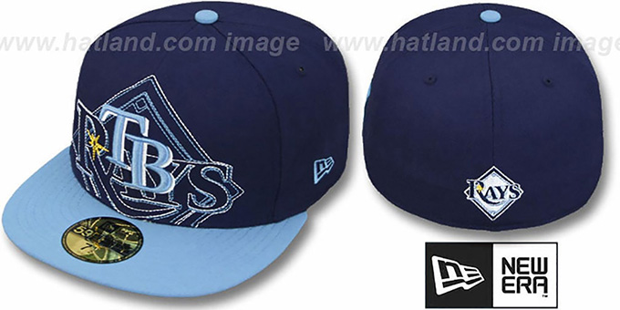 Rays 'NEW MIXIN' Navy-Sky Fitted Hat by New Era : pictured without stickers that these products are shipped with