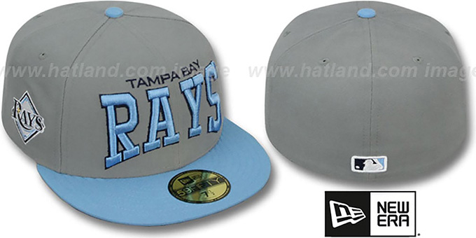 Rays 'PRO-ARCH' Grey-Sky Fitted Hat by New Era : pictured without stickers that these products are shipped with