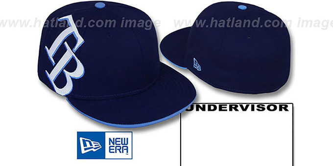 Rays 'SIDEWINGER' Navy Fitted Hat by New Era : pictured without stickers that these products are shipped with