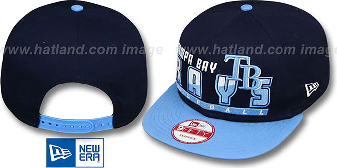 Rays 'SLICE-N-DICE SNAPBACK' Navy-Sky Hat by New Era : pictured without stickers that these products are shipped with