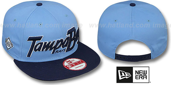 Rays 'SNAP-IT-BACK SNAPBACK' Sky-Navy Hat by New Era : pictured without stickers that these products are shipped with