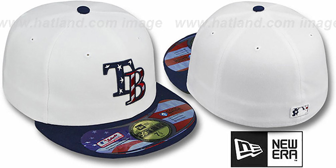 Rays 'STARS N STRIPES' White-Navy Hat by New Era : pictured without stickers that these products are shipped with