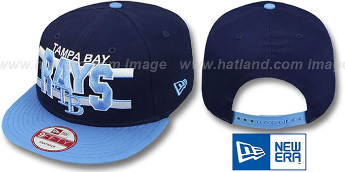 Rays 'WORDSTRIPE SNAPBACK' Navy-Sky Hat by New Era : pictured without stickers that these products are shipped with