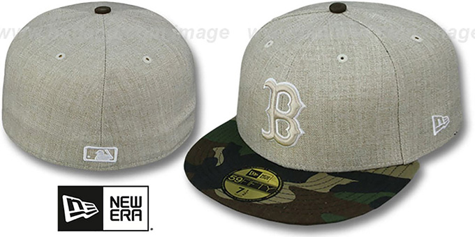 Red Sox  '2T-HEATHER' Oatmeal-Army Fitted Hat by New Era : pictured without stickers that these products are shipped with