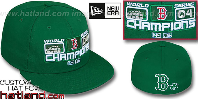 Red Sox 2004 St PATS 'WS CHAMPS' Green Fitted Hat by New Era : pictured without stickers that these products are shipped with
