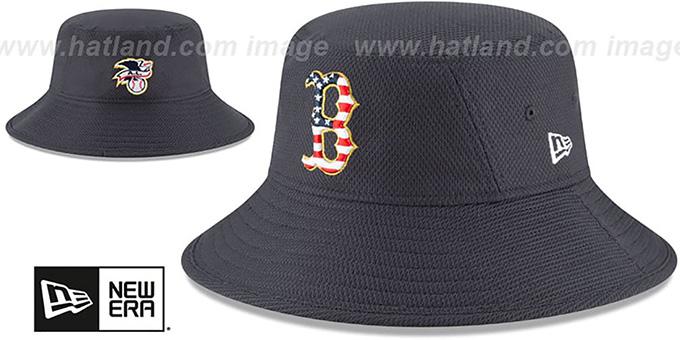 25e1b43493451 Red Sox  2018 JULY 4TH STARS N STRIPES BUCKET  Navy Hat by ...