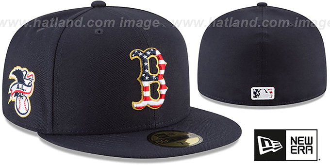 Red Sox '2018 JULY 4TH STARS N STRIPES' Navy Fitted Hat by New Era : pictured without stickers that these products are shipped with