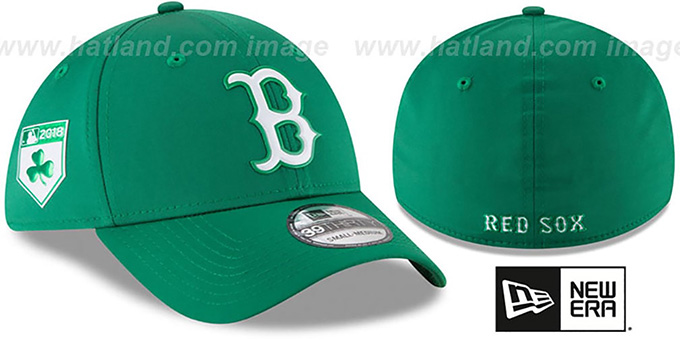 Red Sox '2018 ST PATRICKS DAY FLEX' Hat by New Era : pictured without stickers that these products are shipped with