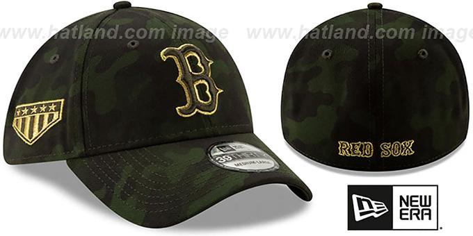 168ca1de745608 Red Sox 2019 ARMED FORCES 'STARS N STRIPES FLEX' Hat by New Era