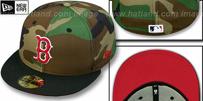 Red Sox '2T CAMO' Army-Black Fitted Hat by New Era : pictured without stickers that these products are shipped with